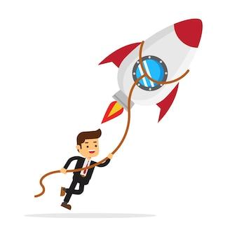 Uomo d'affari aggrappato al lancio di razzi