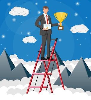 Il trofeo della tenuta dell'uomo d'affari, che mostra il certificato del premio celebra la sua vittoria. montagne, nuvole, cielo. raggiungimento dell'obiettivo di trionfo di successo aziendale. vincere la concorrenza. illustrazione vettoriale piatta