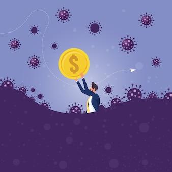 L'uomo d'affari tiene un segno di dollaro valuta la paura del panico del nuovo coronavirus e cerca di proteggere i soldi dalla crisi del coronavirus