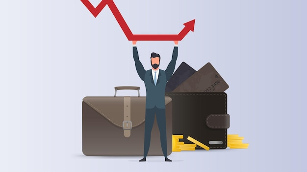 L'uomo d'affari tiene un grafico in caduta. il concetto di salvare un'azienda da default, inflazione e stock in calo. isolato. vettore.