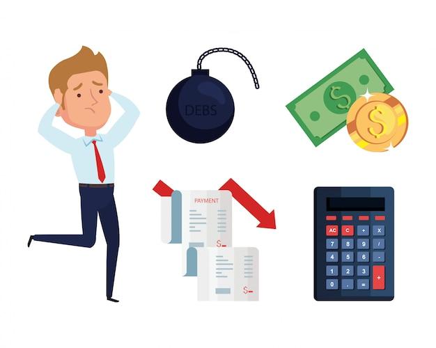 Uomo d'affari e icone della crisi finanziaria di fallimento