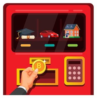 Uomo d'affari inserisce bitcoin nel distributore automatico con illustrazione di auto e proprietà accademiche