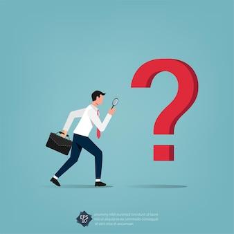 Uomo d'affari che studia il punto interrogativo con l'ingrandimento dell'illustrazione.