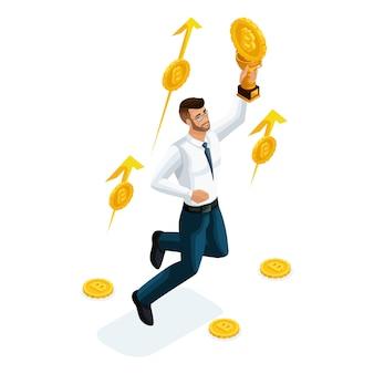 Uomo d'affari, investitore, operatore del mercato finanziario, soldi guadagnati investiti in ethereum crypto currency, ico, bitcoin