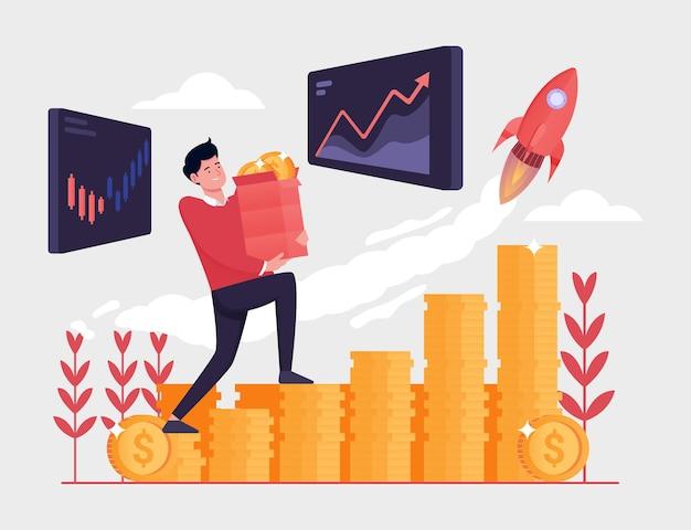 Gli investitori d'affari trasportano pile di monete per raggiungere obiettivi di investimento per la crescita del mercato azionario