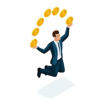 L'uomo d'affari è felice di vomitare monete, saltando il concetto di una transazione finanziaria di successo con bitcoin. illustrazione di un investitore finanziario
