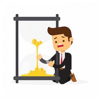 L'uomo d'affari sta esaminando la clessidra con le monete di oro