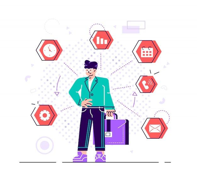 L'uomo d'affari sta stando e tenendo la cartella con le icone dell'ufficio sui precedenti. multitasking e concetto di gestione del tempo. gestione efficace. illustrazione di design stile piatto per sito web.