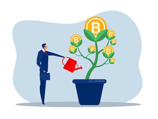 L'uomo d'affari sta innaffiando l'albero di bitcoin per far crescere gli affari. illustrazione piana di concetto di affari aumentanti e di crescita.