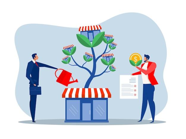 L'uomo d'affari sta innaffiando l'albero dei soldi per far crescere l'attività in franchising