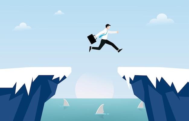 Uomo d'affari salta sopra il concetto di gap scogliera. illustrazione di simbolo di affari