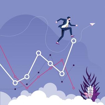 L'uomo d'affari salta al livello più alto del grafico. concetto crescente di affari
