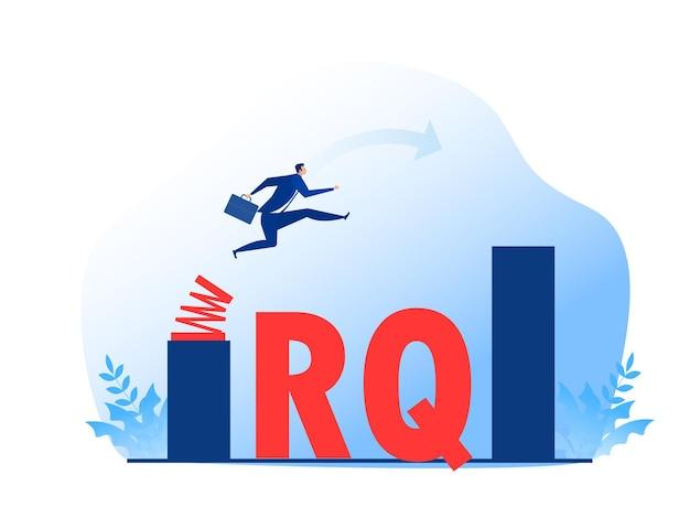 L'uomo d'affari salta la molla attraverso il crescente grafico a barre. quoziente di resilienza
