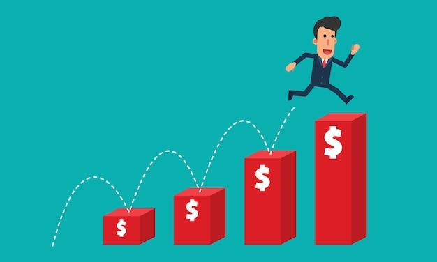 L'uomo d'affari salta sopra ai soldi rossi del dollaro dei grafici a strisce superiori