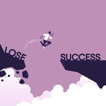 L'uomo d'affari che salta dal lato perdente sulla roccia alla sfida di affari di successo e al concetto di vettore di successo