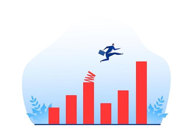 Uomo d'affari che salta al grafico di crescita con il concetto di trampolino di lancio
