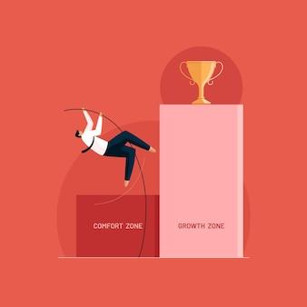 Uomo d'affari che salta alla zona di crescita zona di comfort vs zona di crescita concept