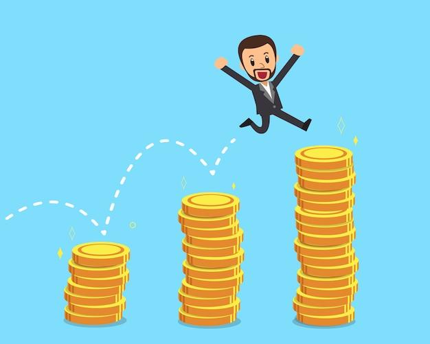 L'uomo d'affari che salta sopra le pile dei soldi