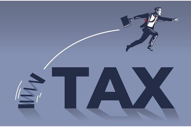 Uomo d'affari che salta sopra l'illustrazione concettuale del collare blu del testo fiscale