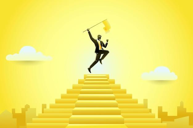Imprenditore saltando mentre si tiene la bandiera in cima alla scala