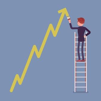 Uomo d'affari sulla scala che disegna la freccia rampicante di dinamiche positive