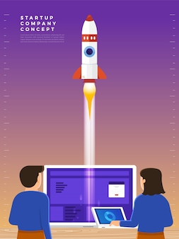 L'uomo d'affari lancia un razzo nel cielo, il dipendente esegue l'avviamento del veicolo spaziale. concetto di avvio aziendale. illustrazioni.