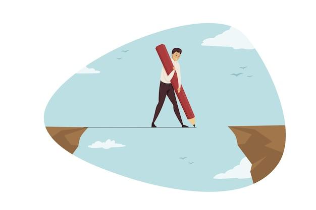 Il personaggio dei cartoni animati di uomo d'affari capo impiegato manager attraversa il divario abisso disegna la linea della corda con l'aiuto della matita.