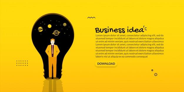 Direzione dell'uomo d'affari che sta davanti alla lampadina, concetto di idea di affari