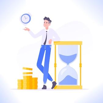 L'uomo d'affari si appoggia alla clessidra e guadagna soldi, gestione del tempo