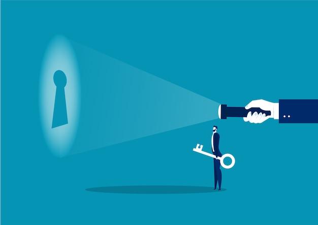 Uomo d'affari alla ricerca di linee guida per mettere una chiave per il successo del lavoro o il concetto di soluzione del problema