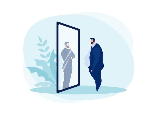 Uomo d'affari guardando lo specchio in piedi con la pancia grassa.
