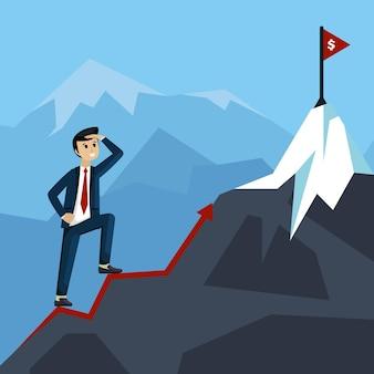 Uomo d'affari che guarda l'illustrazione di profitto finanziario del picco di montagna. uomo in tuta che scala la linea strategica di successo per la carriera e gli affari di successo della bandiera commerciale. marketing piatto vettoriale.