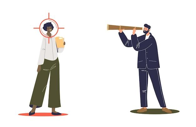 Uomo d'affari alla ricerca di un nuovo dipendente con il cannocchiale. hr e concetto di reclutamento. responsabile delle risorse umane o reclutatore che assume lavoratrice.