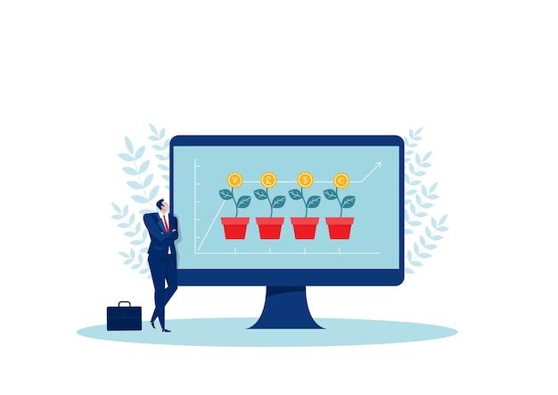 Uomo d'affari che osserva freccia rossa cresce sulle illustrazioni di concetto dell'albero di investimento.