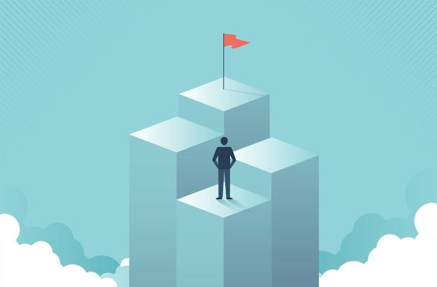 Uomo d'affari che cerca di mirare al concetto di visione aziendale del pilastro più alto simbolo di motivazione