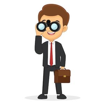 Uomo d'affari che osserva tramite il binocolo alla ricerca di un lavoro