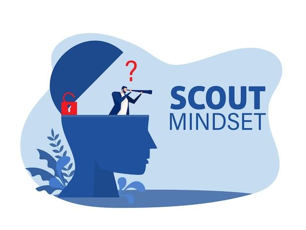 Uomo d'affari che guarda attraverso un telescopio sulla testa umana per l'illustrazione di vettore di concetto di mentalità scout.