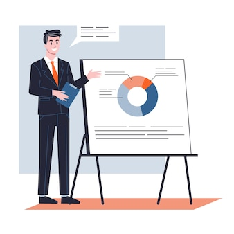 L'uomo d'affari fa la presentazione con grafico e grafico. riunione o seminario in ufficio. illustrazione
