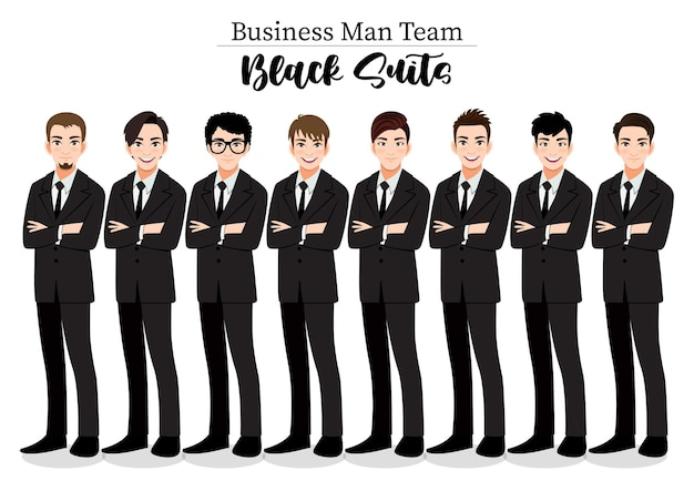 Uomo d'affari o personaggio maschile braccia incrociate pongono in abito nero illustrazione.