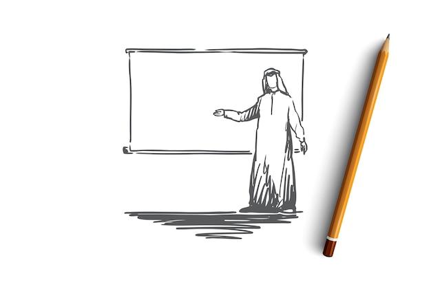 Uomo d'affari, marketing, layout, musulmano, arabo, concetto di islam. uomo d'affari arabo disegnato a mano con l'abbozzo di concetto di presentazione.