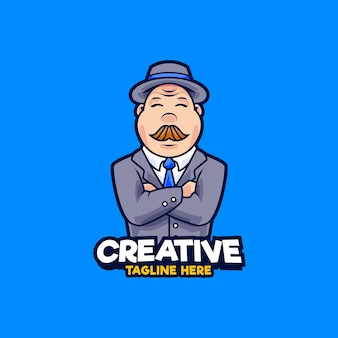 Illustrazione di progettazione del logo della mascotte dell'uomo d'affari. uomini grassi che indossano abito e cappello illustrazione vettoriale