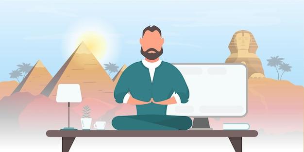 L'uomo d'affari medita sulla scrivania dell'ufficio sullo sfondo della spiaggia.