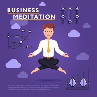 Uomo d'affari che medita nell'illustrazione di pace della mente