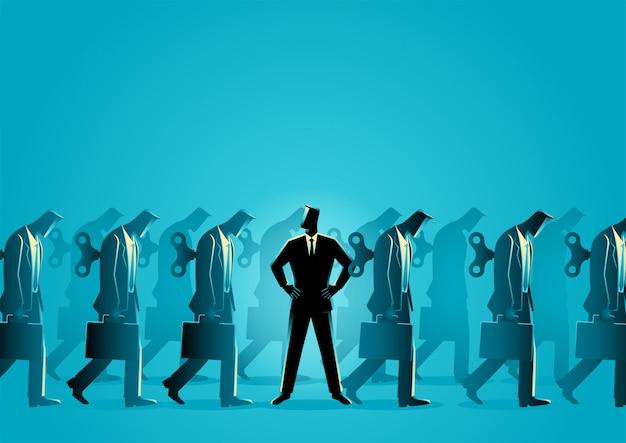 Imprenditore notando che è diverso dagli altri