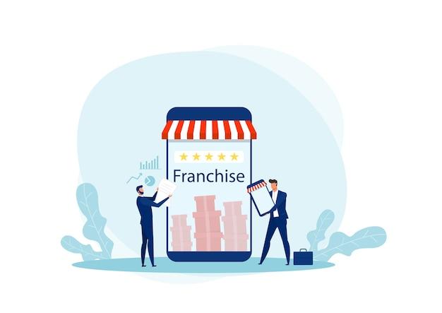 L'offerta dell'uomo d'affari promuove il franchising al cliente per gli investimenti