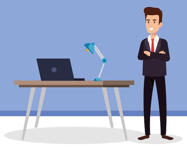 Uomo d'affari nel personaggio avatar ufficio