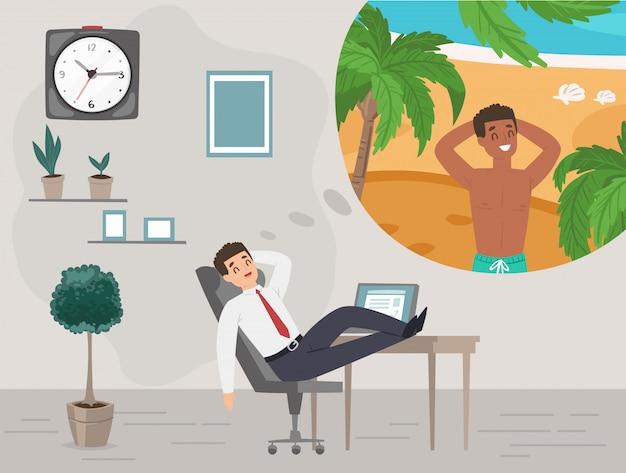 Uomo d'affari in ufficio che sogna della vacanza sull'illustrazione tropicale di festa di viaggio dell'isola.