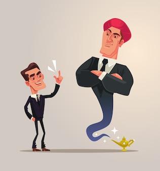 Uomo d'affari impiegato e personaggi gin aziendali
