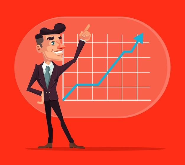 Carattere di lavoratore di ufficio uomo d'affari che ha miglioramento aziendale di successo