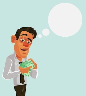 Carattere dell'uomo di lavoratore di ufficio dell'uomo d'affari che conta i soldi di stipendio.